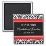 Red and Black Damask Wedding Save The Date