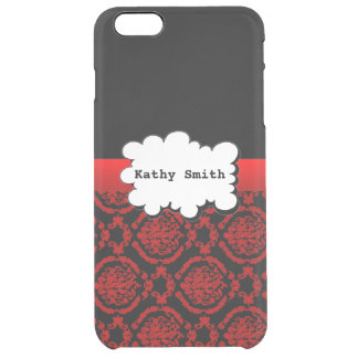 Red and Black Damasks Print Uncommon Clearly™ Deflector iPhone 6 Plus Case