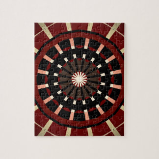 Red and Black Dart Board Inspired Design Jigsaw Puzzle