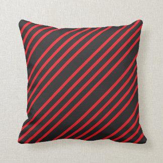 Red and Black Diagonal Stripes Cushion