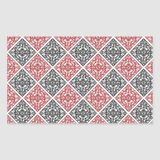 Red and Black Diamond Damask Rectangular Sticker