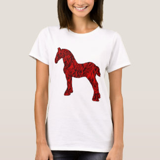 Red and Black Draft Horse Silhouette T-Shirt