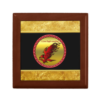 Red and black eagle hawk falcan gold foil texture gift box