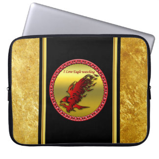 Red and black eagle hawk falcan gold foil texture laptop sleeve