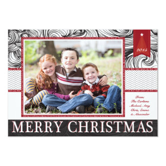 Red and Black Elegant Christmas Photo Card 13 Cm X 18 Cm Invitation Card
