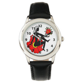 Red and Black Faerie silhouette and Flower Watch
