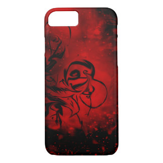 Red and Black Fiery Swirl Design Phone Case