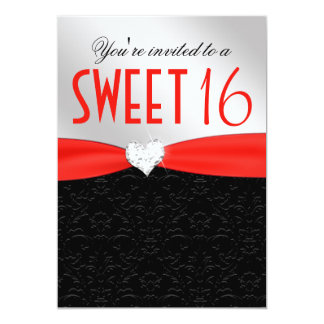 Red and Black Floral Damask Diamond Heart Card