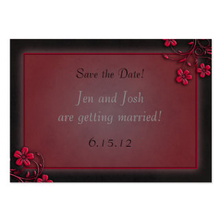 Red and Black Floral Save the Date Cards Pack Of Chubby Business Cards