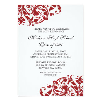 Red and Black Flourish Class Reunion 13 Cm X 18 Cm Invitation Card