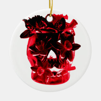 Red and Black Flowers and Skull Ceramic Ornament