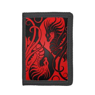 Red and Black Flying Yin Yang Dragons Tri-fold Wallet