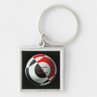 Red and Black Football Key Chain