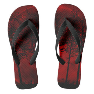 Red and black forest moon flip flops
