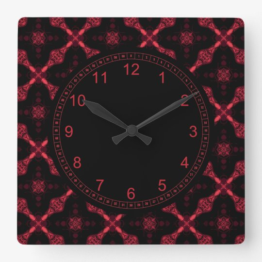 Red And Black Geometric Abstract Pattern Square Wall Clock