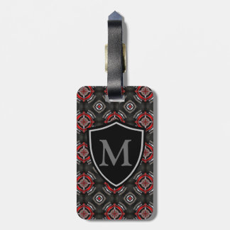 Red and Black Geometric Pattern Luggage Tag