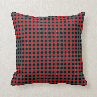 Red and Black Gingham Squares Print Cushion