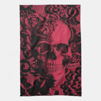 Red and black gothic lace skull. tea towel