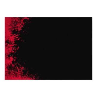 "Red and Black Grunge Brush 2 Invitation 5"" X 7"" Invitation Card"