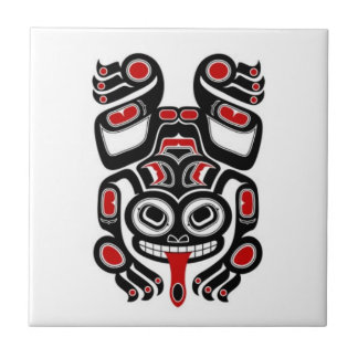 Red and Black Haida Spirit Tree Frog Small Square Tile
