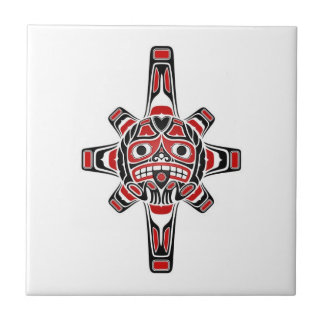 Red and Black Haida Sun Mask on White Small Square Tile