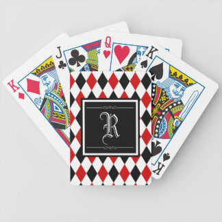 Red and Black Harlequin Diamond Pattern Monogram Bicycle Playing Cards