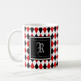 Red and Black Harlequin Diamond Pattern Monogram Coffee Mug