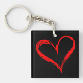 Red and Black Heart Doublesided Keychain