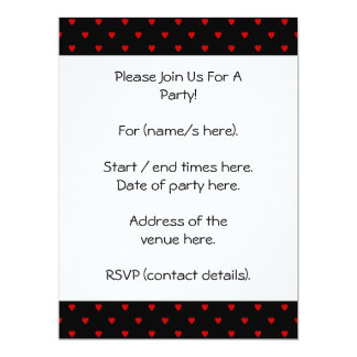 Red and Black Hearts. Pattern. 17 Cm X 22 Cm Invitation Card
