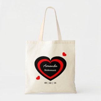 Red and Black Hearts Personalized Wedding Party Tote Bags