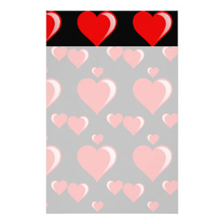 Red and Black Hearts Valentine's Day Pattern Stationery Paper