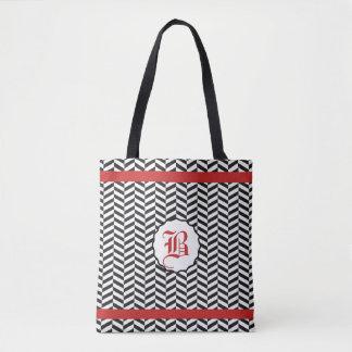 Red and Black Herringbone Monogram Tote Bag