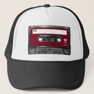 Red and Black Houndstooth Label Cassette Trucker Hat