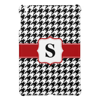 Red and Black Houndstooth Monogram Personalized iPad Mini Case