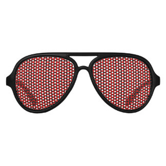 Red And Black Houndstooth Pattern Aviator Sunglasses