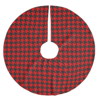 Red And Black Houndstooth Pattern Brushed Polyester Tree Skirt