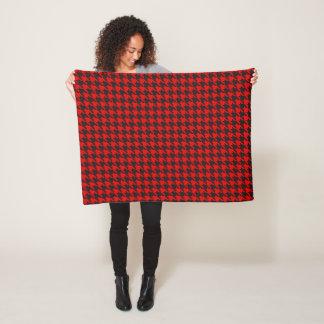Red And Black Houndstooth Pattern Fleece Blanket