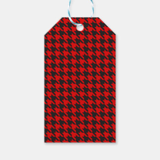 Red And Black Houndstooth Pattern Gift Tags