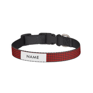 Red And Black Houndstooth Pattern Pet Collar