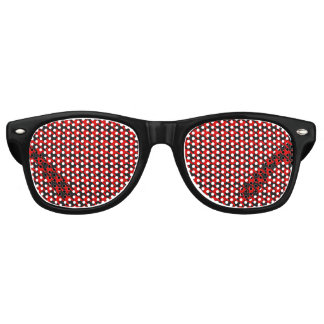Red And Black Houndstooth Pattern Retro Sunglasses