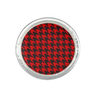 Red And Black Houndstooth Pattern Ring