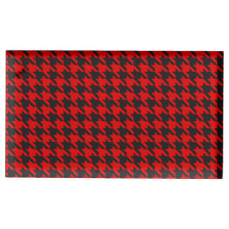 Red And Black Houndstooth Pattern Table Card Holder
