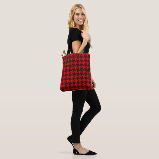 Red And Black Houndstooth Pattern Tote Bag