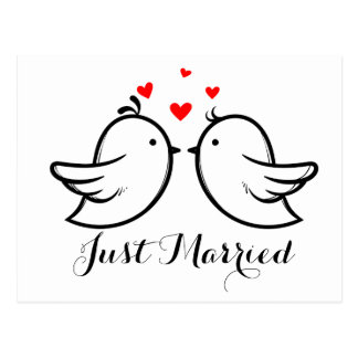 Red And Black Just Married Lovebirds Wedding Party Postcard
