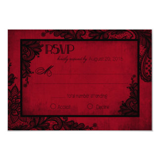 Red and Black Lace Gothic RSVP Card 9 Cm X 13 Cm Invitation Card