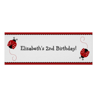 Red and Black Ladybug Birthday Banner Poster