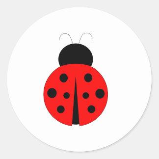 Red and Black Ladybug Round Sticker
