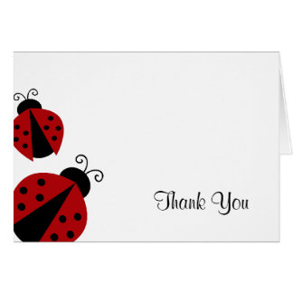 Red and Black Ladybug Thank You Card