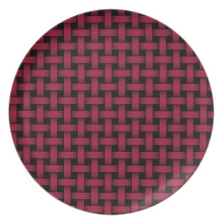 Red and Black Lattice Weave Melamine Plate