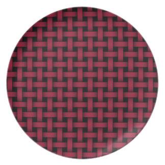 Red and Black Lattice Weave Melamine Plate